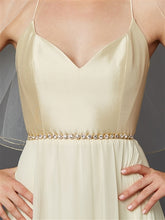 Gorgeous Slender Gold Crystal Linked Bridal Belt - La Bella Bridal Accessories