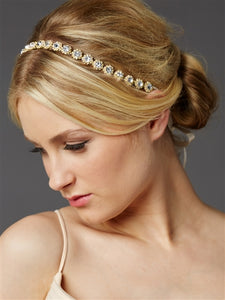 Gorgeous Slender Gold Linked Crystal Bridal Headband - La Bella Bridal Accessories
