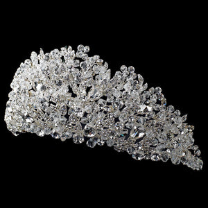 Sparkling Big Swarovski Crystal Encrusted Wedding Tiara - La Bella Bridal Accessories