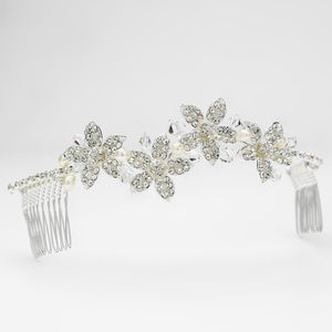 Silver White Pearl & Crystal Accent Floral Comb, Wedding Headpiece, Bridal headpieces