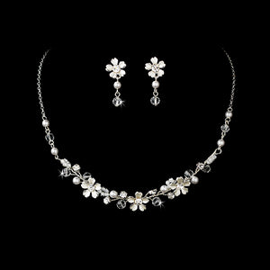 Beautiful Crystal & White Pearl Flower Necklace & Earring Set - La Bella Bridal Accessories