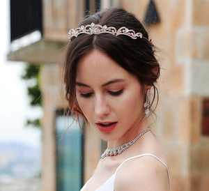 Romantic Princess Inspired Crystal Bridal Tiara - La Bella Bridal Accessories