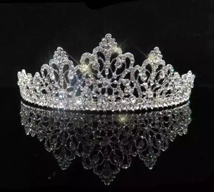 Antique Inspired Silver Crystal Child's Tiara - La Bella Bridal Accessories