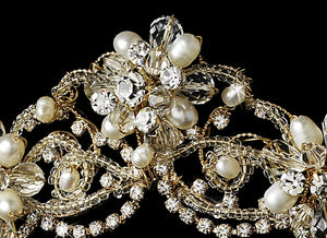 Beautiful Couture Crystal & Freshwater Pearl Bridal Tiara - La Bella Bridal Accessories