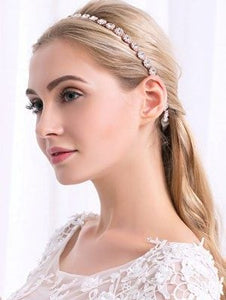 Gorgeous Slender Rose Gold Linked Crystal Bridal Headband - La Bella Bridal Accessories