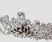 Gorgeous Crystal CZ Zircon Crystal Floral Bridal Tiara - La Bella Bridal Accessories