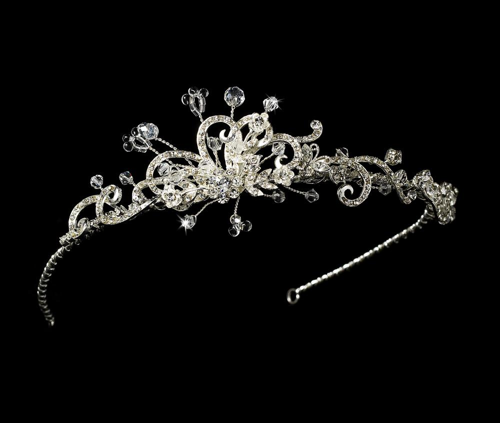 Swarovski Crystal Tiara Headband with Side Crystal Accent - La Bella Bridal Accessories