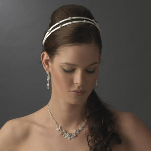 Flower Double Crystal Bridal Headband - La Bella Bridal Accessories