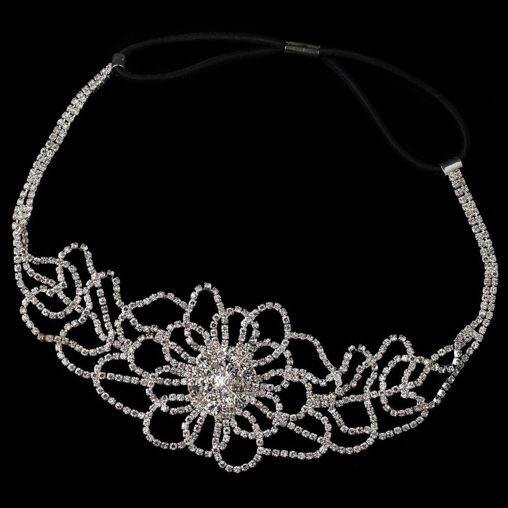 Silver Crystal Floral Hair Elastic Headband 369 - La Bella Bridal Accessories