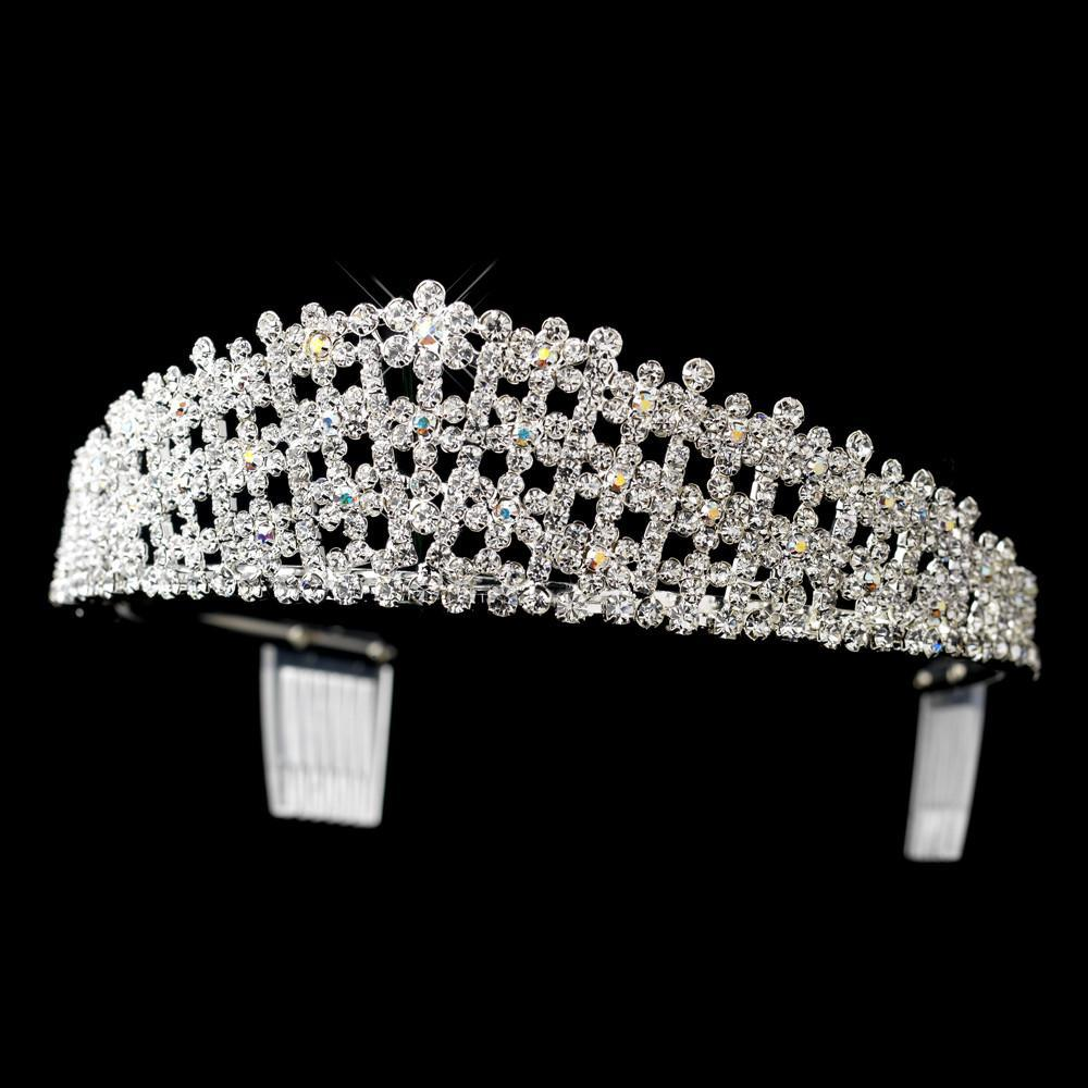 Silver AB & Round 3 Row Crystal Tiara - La Bella Bridal Accessories