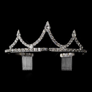 Silver Clear Crystal Inverted Teardrop Tiara, Wedding Headpiece, Bridal headpieces