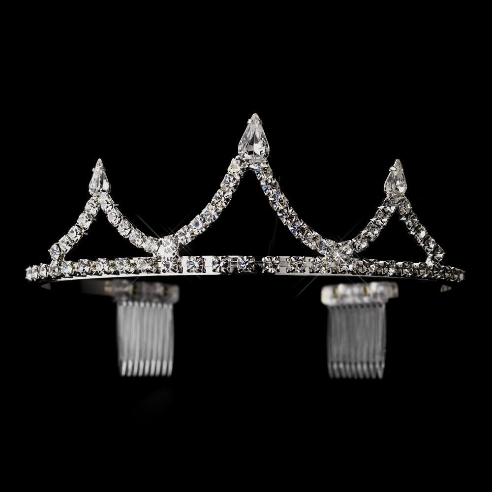 Silver Crystal Inverted Teardrop Tiara Headpiece - La Bella Bridal Accessories