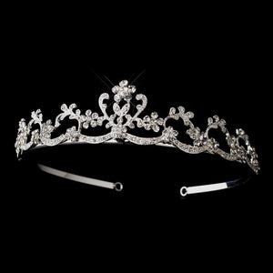 Silver Crystal Swirly Floral Tiara Headpiece - La Bella Bridal Accessories