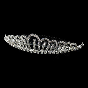 Silver Crystal Hair Tiara Comb - La Bella Bridal Accessories