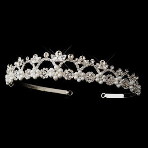 Silver Crystal & Pearl Dainty Tiara Headpiece - La Bella Bridal Accessories