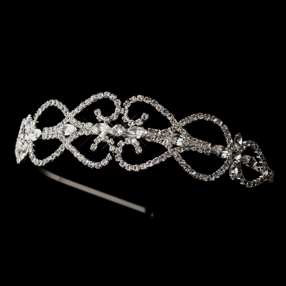 Silver, Crystal Heart Headband, Wedding Headpiece, Bridal headpieces