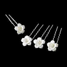 Swarovski Crystal White Rose Pin - La Bella Bridal Accessories