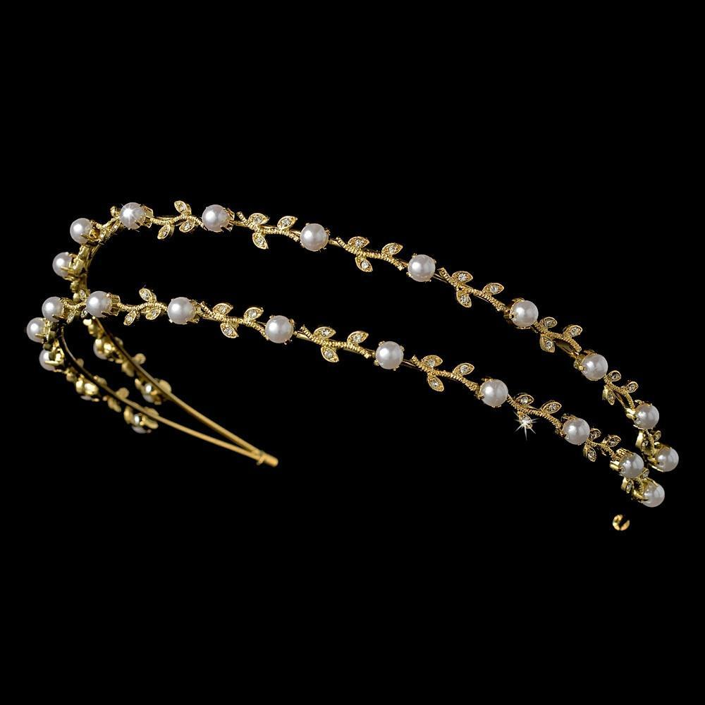 Crystal & Pearl Bridal Headband Gold Ivory - La Bella Bridal Accessories