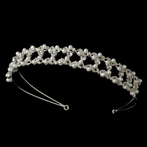 Crystal & Pearl Classic Bridal Headband - La Bella Bridal Accessories