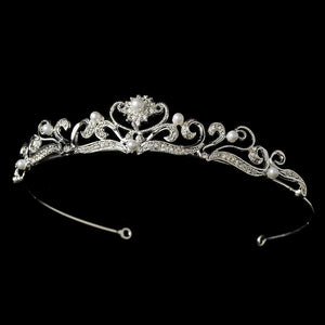 Crystal and Pearl Bridal Tiara - La Bella Bridal Accessories