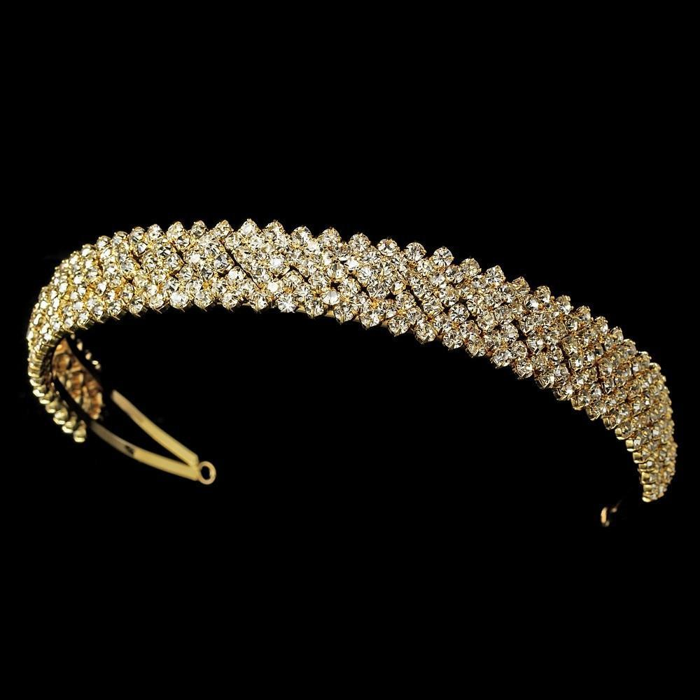 Austrian Crystal Headband in Lustrous Gold Plating - La Bella Bridal Accessories