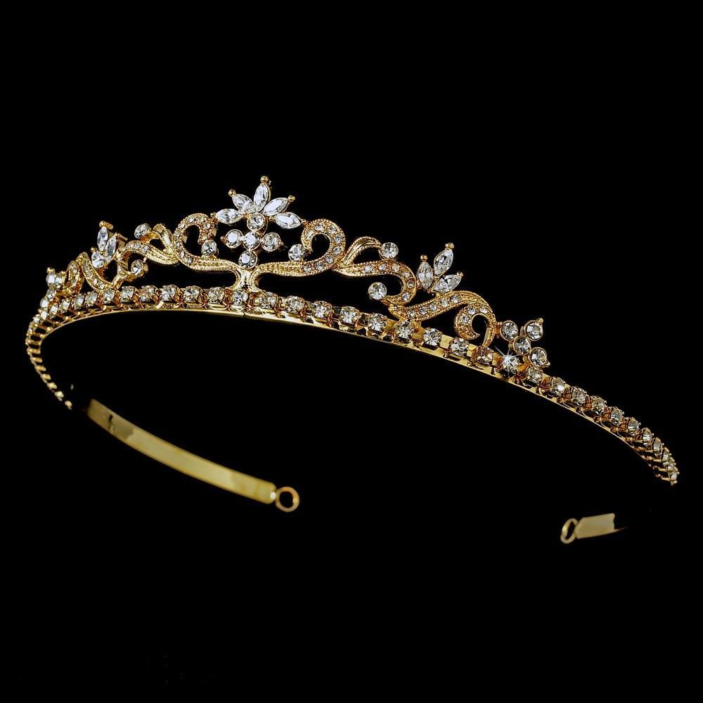 Gold Floral Bridal Tiara - La Bella Bridal Accessories