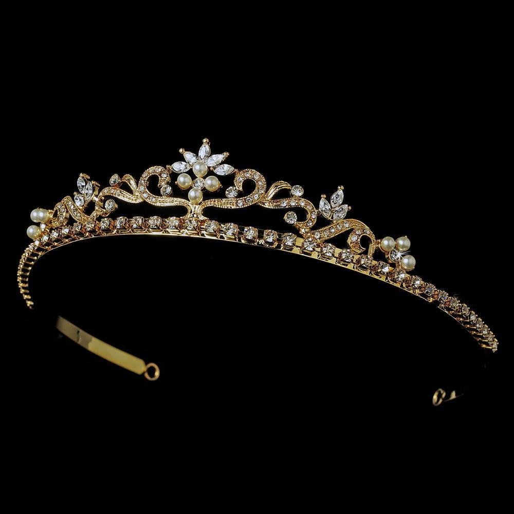 Gold and Ivory Pearl Bridal Tiara - La Bella Bridal Accessories