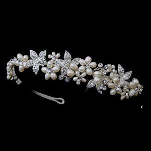 Silver Ivory Pearl & Clear Crystal Floral Side Accented Bridal Headpiece 1125