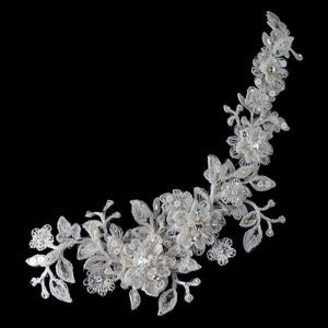 HP 1265 Ivory Lace Flexible Bridal Hair Applique Accented with Crystals, Crystals & Sequin