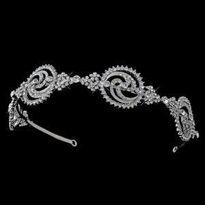 Rhodium Crystal Modern Headband - La Bella Bridal Accessories