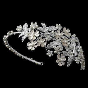 Light Silver Crystal & Ivory Pearl Floral Side Headband 1534
