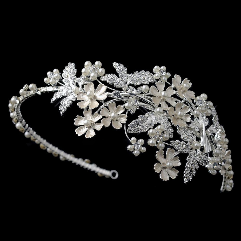Light Silver Crystal & Ivory Pearl Floral Side Headband - La Bella Bridal Accessories