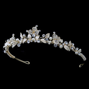 Light Gold Crystal & Ivory Pearl Tiara - La Bella Bridal Accessories