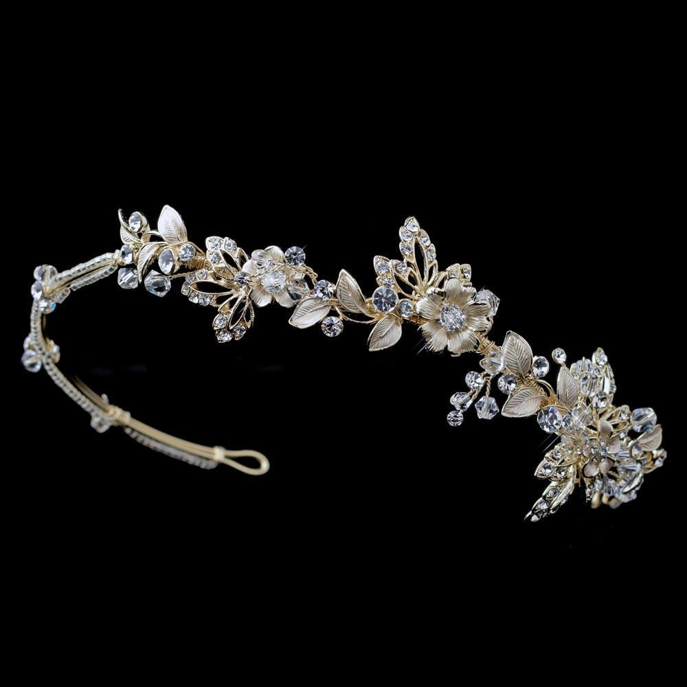 Light Gold Crystal Floral Side Headband Headpiece - La Bella Bridal Accessories