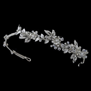 Silver Crystal Floral Side Headband Headpiece - La Bella Bridal Accessories