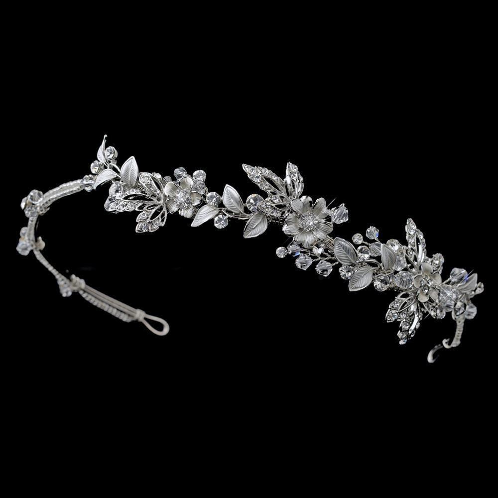 Silver Clear Crystal Floral Side Headband, Wedding Headpiece, Bridal headpieces