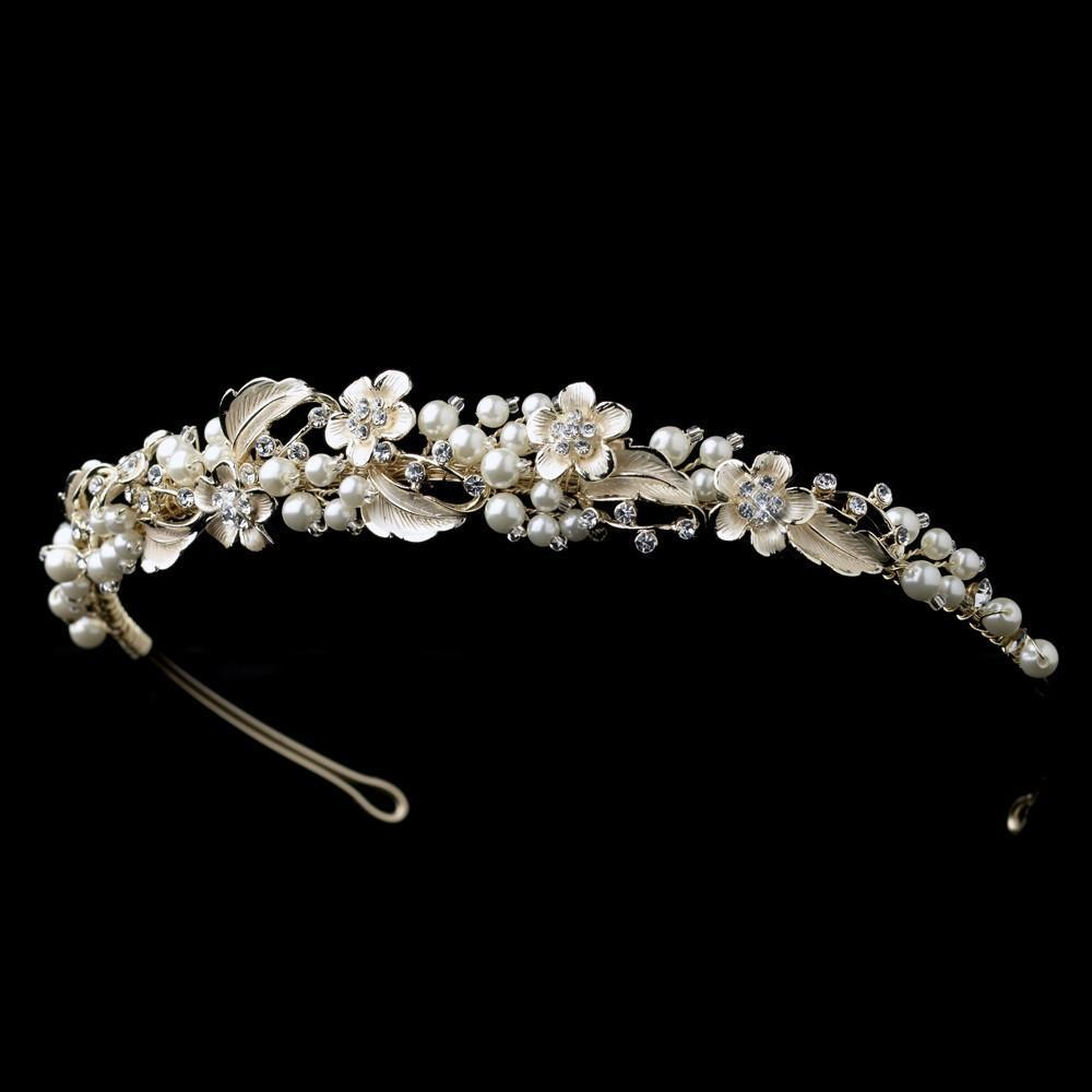 Light Gold Ivory Pearl & Crystal Floral Headband - La Bella Bridal Accessories