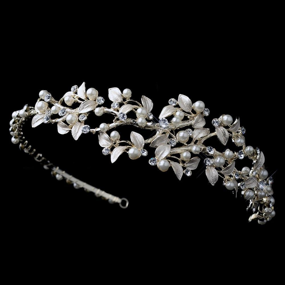 Light Gold Ivory Pearl & Crystal Vine Side Headband - La Bella Bridal Accessories