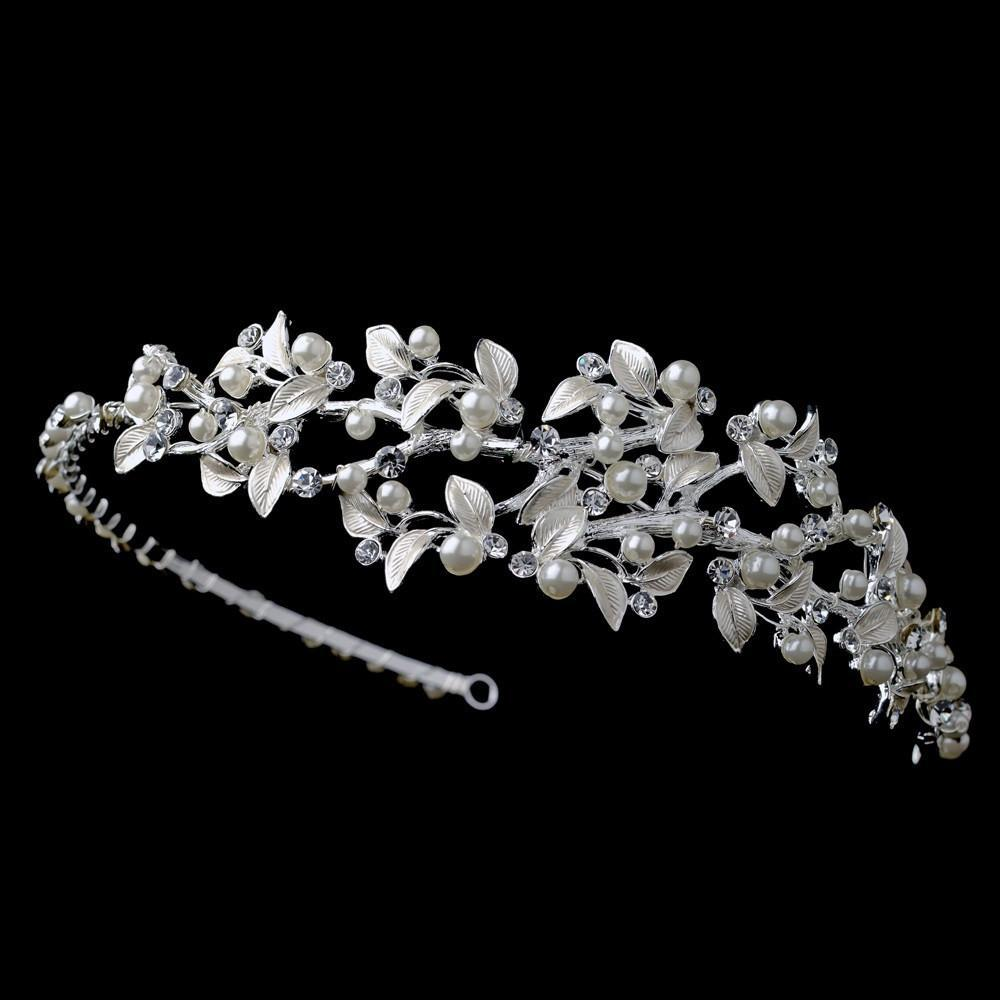 Silver Light Ivory Pearl & Crystal hair Vine Side Headband, Wedding Headpiece, Bridal headpieces, crystal tiara