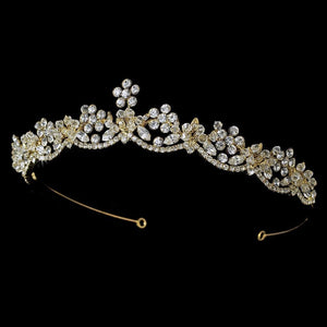 Swarovski Crystal Floral Bridal Tiara - La Bella Bridal Accessories