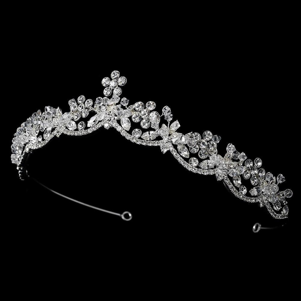 Swarovski Crystal Bridal Tiara (Silver or Gold) - La Bella Bridal Accessories