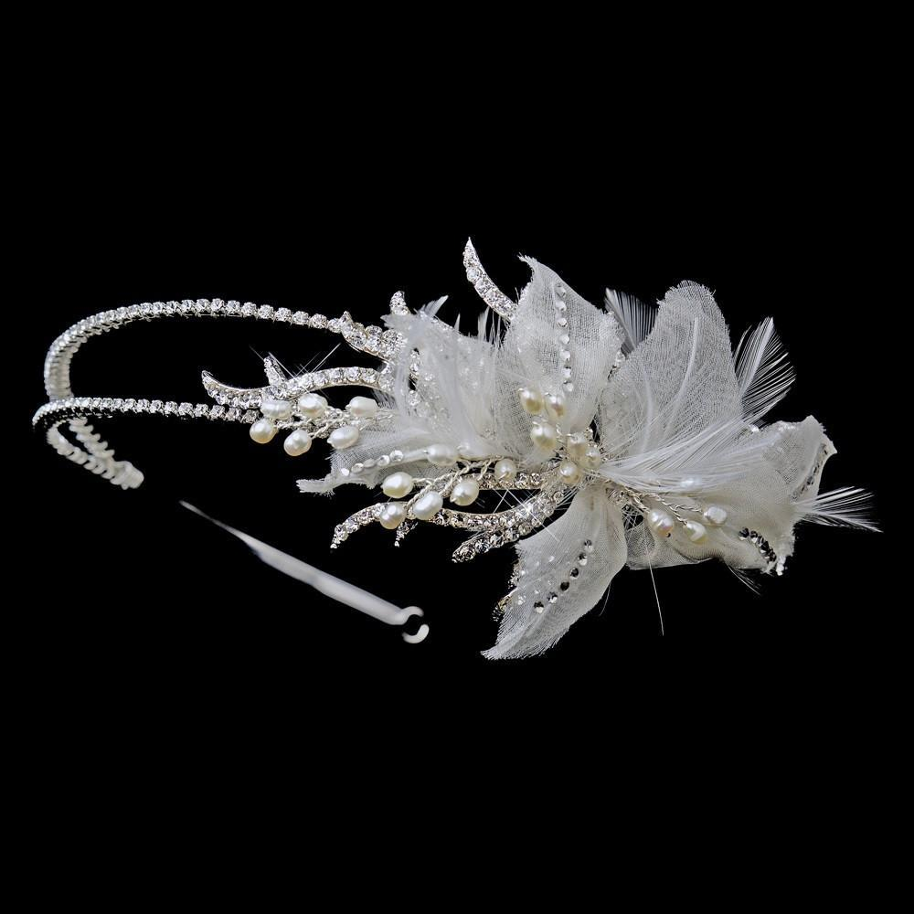 Antique Silver Ivory Pearl & Crystal Floral Feather Fabric Side Accented Bridal Feather Headband - La Bella Bridal Accessories