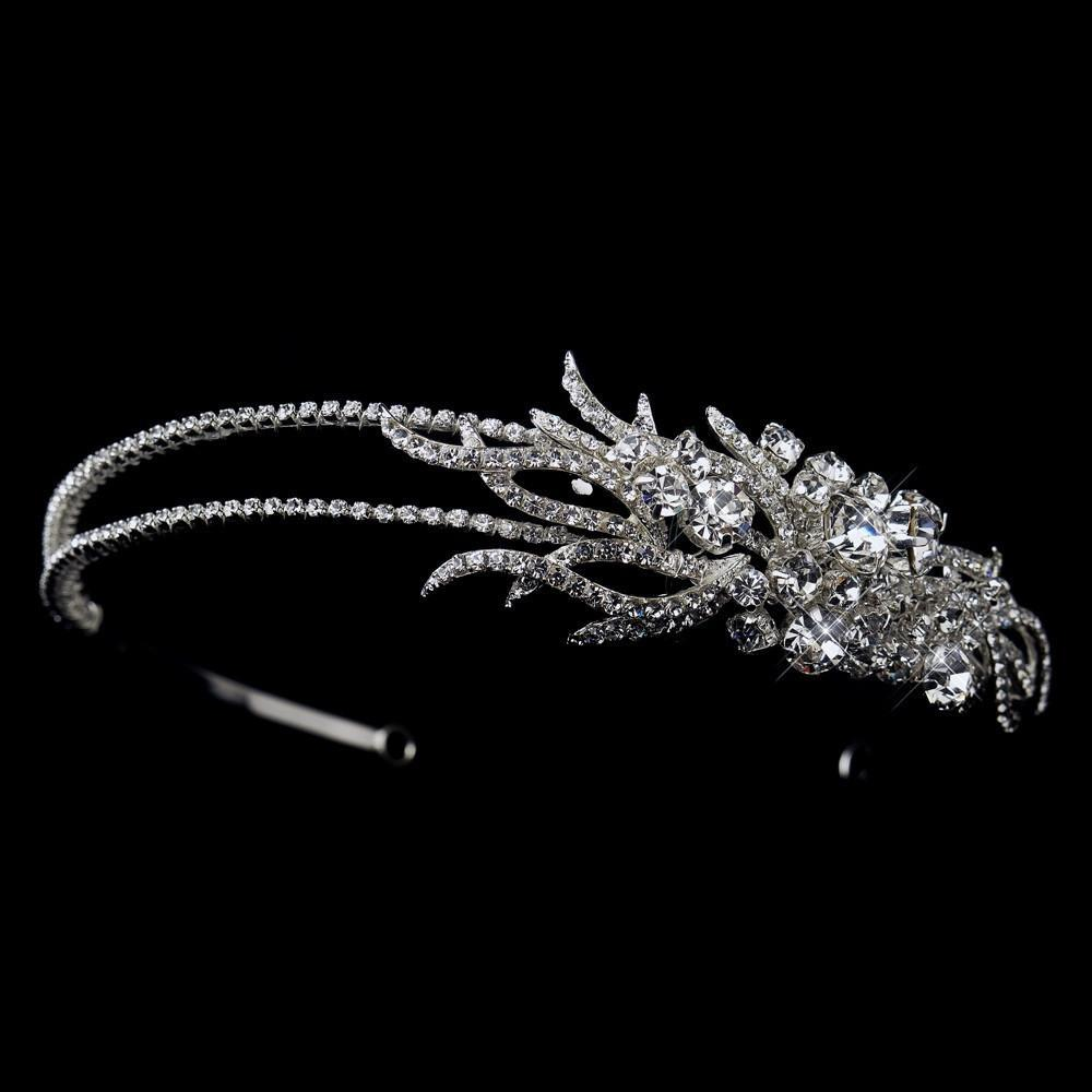 Silver Crystal Side Accented Bridal Double Side Accented Headband - La Bella Bridal Accessories