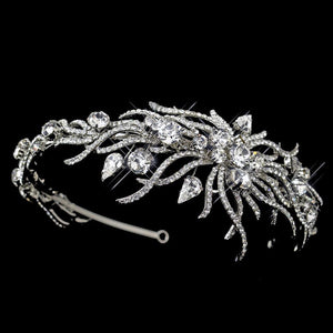 Antique Silver couture bridal headband, Crystal Bridal Headband, vintage bridal headband, Silver Crystal Bridal Headband, wedding headband, Crystal bridal headband, Floral Crystal Headband