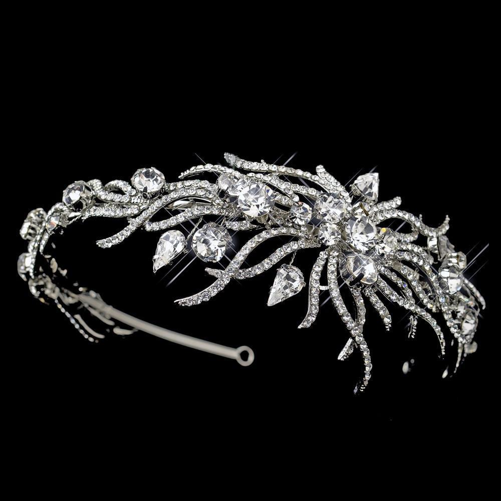 Antique Silver Multi Cut Crystal Spiral Side Accented Bridal Headpiece - La Bella Bridal Accessories