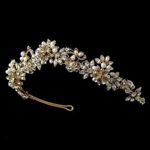 Gold Plated Freshwater, Swarovski crystal Bridal Tiara - La Bella Bridal Accessories