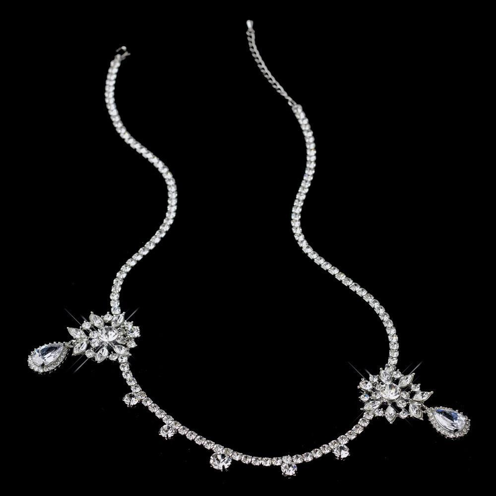 "Antique Silver CZ Crystal ""Kim Kardashian"" Inspired Floral Headband - La Bella Bridal Accessories"