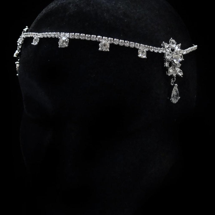 Antique Silver CZ Crystal Kim Kardashian Inspired Forehead Headpiece - La Bella Bridal Accessories