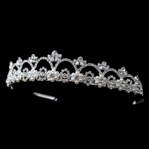 White Pearl Bridal Tiara - La Bella Bridal Accessories