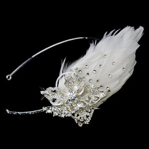 Crystal Feather Side Accented Wedding Headpiece - La Bella Bridal Accessories